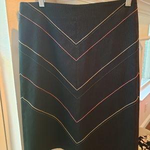 Black Pinstriped Pencil Skirt Size 2